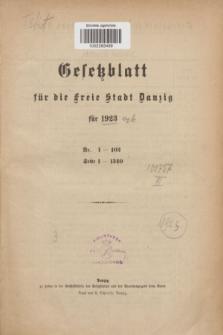 Gesetzblatt für die Freie Stadt Danzig.1923, Spis treści