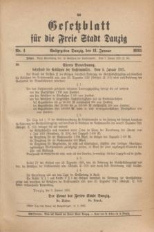 Gesetzblatt für die Freie Stadt Danzig.1923, Nr. 4 (11 Januar)