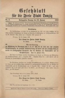 Gesetzblatt für die Freie Stadt Danzig.1923, Nr. 6 (15 Januar)