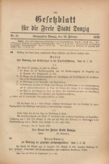 Gesetzblatt für die Freie Stadt Danzig.1923, Nr. 13 (13 Februar)