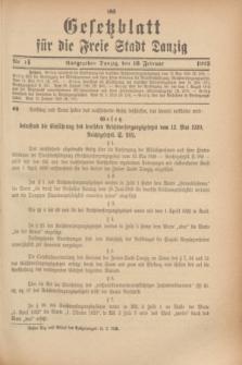 Gesetzblatt für die Freie Stadt Danzig.1923, Nr. 14 (16 Februar)