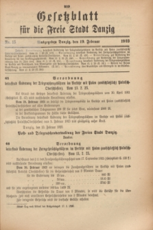 Gesetzblatt für die Freie Stadt Danzig.1923, Nr. 15 (19 Februar)