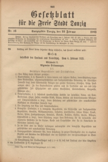 Gesetzblatt für die Freie Stadt Danzig.1923, Nr. 16 (22 Februar)