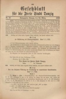 Gesetzblatt für die Freie Stadt Danzig.1923, Nr. 25 (24 März)