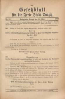 Gesetzblatt für die Freie Stadt Danzig.1923, Nr. 26 (26 März)