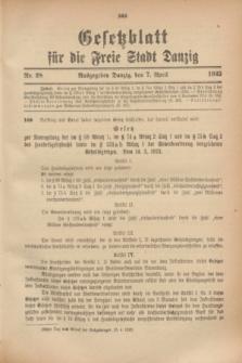 Gesetzblatt für die Freie Stadt Danzig.1923, Nr. 28 (7 April)