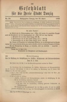 Gesetzblatt für die Freie Stadt Danzig.1923, Nr. 30 (14 April)