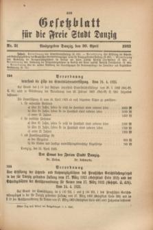 Gesetzblatt für die Freie Stadt Danzig.1923, Nr. 31 (30 April)