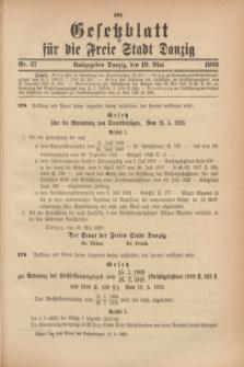 Gesetzblatt für die Freie Stadt Danzig.1923, Nr. 37 (19 Mai)