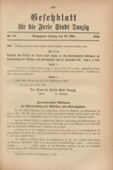 Gesetzblatt für die Freie Stadt Danzig.1923, Nr. 38 (24 Mai)