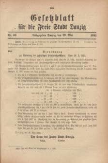 Gesetzblatt für die Freie Stadt Danzig.1923, Nr. 40 (29 Mai)