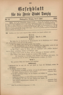 Gesetzblatt für die Freie Stadt Danzig.1923, Nr. 41 (1 Juni)