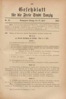 Gesetzblatt für die Freie Stadt Danzig.1923, Nr. 43 (14 Juni)