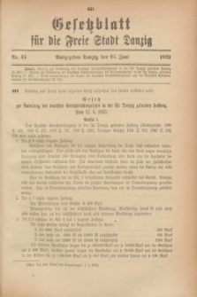 Gesetzblatt für die Freie Stadt Danzig.1923, Nr. 45 (23 Juni)