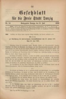 Gesetzblatt für die Freie Stadt Danzig.1923, Nr. 54 (18 Juli)