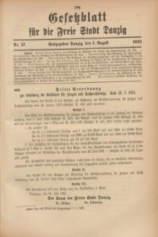 Gesetzblatt für die Freie Stadt Danzig.1923, Nr. 57 (1 August)