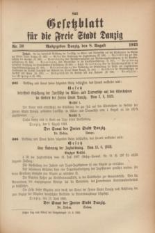 Gesetzblatt für die Freie Stadt Danzig.1923, Nr. 59 (8 August)
