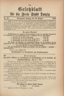 Gesetzblatt für die Freie Stadt Danzig.1923, Nr. 60 (10 August)