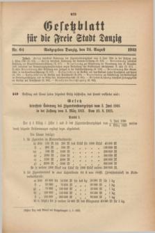 Gesetzblatt für die Freie Stadt Danzig.1923, Nr. 64 (24 August)