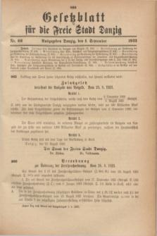 Gesetzblatt für die Freie Stadt Danzig.1923, Nr. 66 (1 September)