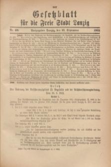 Gesetzblatt für die Freie Stadt Danzig.1923, Nr. 68 (13 September)