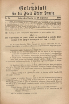 Gesetzblatt für die Freie Stadt Danzig.1923, Nr. 70 (19 September)
