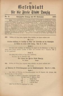 Gesetzblatt für die Freie Stadt Danzig.1923, Nr. 71 (22 September)