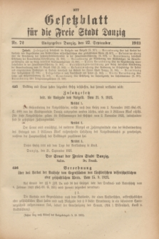 Gesetzblatt für die Freie Stadt Danzig.1923, Nr. 72 (27 September)
