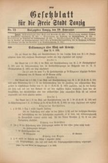 Gesetzblatt für die Freie Stadt Danzig.1923, Nr. 73 (29 September)