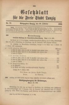 Gesetzblatt für die Freie Stadt Danzig.1923, Nr. 75 (10 Oktober)
