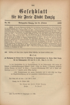 Gesetzblatt für die Freie Stadt Danzig.1923, Nr. 85 (31 October)
