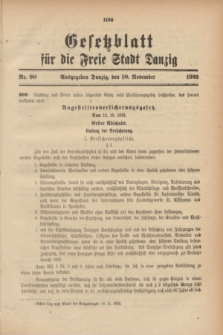 Gesetzblatt für die Freie Stadt Danzig.1923, Nr. 90 (10 November)