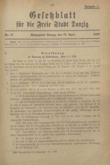 Gesetzblatt für die Freie Stadt Danzig.1925, Nr. 17 (22 April) - Ausgabe A