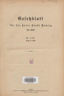 Gesetzblatt für die Freie Stadt Danzig.1927, Spis treści