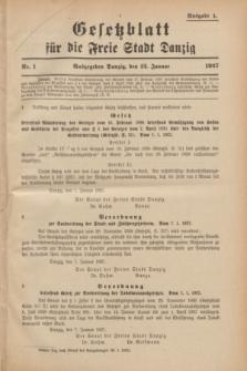 Gesetzblatt für die Freie Stadt Danzig.1927, Nr. 1 (12 Januar) - Ausgabe A