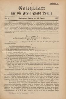 Gesetzblatt für die Freie Stadt Danzig.1927, Nr. 2 (25 Januar) - Ausgabe A