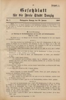 Gesetzblatt für die Freie Stadt Danzig.1927, Nr. 3 (20 Januar) - Ausgabe A