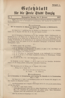 Gesetzblatt für die Freie Stadt Danzig.1927, Nr. 4 (2 Februar) - Ausgabe A