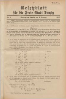 Gesetzblatt für die Freie Stadt Danzig.1927, Nr. 5 (9 Februar) - Ausgabe A