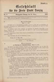 Gesetzblatt für die Freie Stadt Danzig.1927, Nr. 9 (18 März) - Ausgabe A