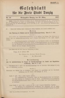 Gesetzblatt für die Freie Stadt Danzig.1927, Nr. 10 (23 März) - Ausgabe A