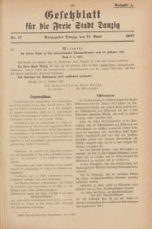 Gesetzblatt für die Freie Stadt Danzig.1927, Nr. 17 (13 April) - Ausgabe A
