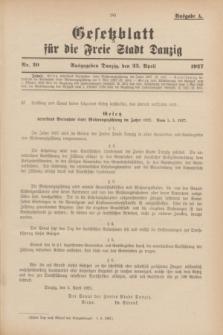 Gesetzblatt für die Freie Stadt Danzig.1927, Nr. 20 (23 April) - Ausgabe A