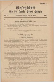 Gesetzblatt für die Freie Stadt Danzig.1927, Nr. 21 (30 April) - Ausgabe A
