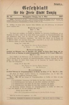 Gesetzblatt für die Freie Stadt Danzig.1927, Nr. 22 (4 Mai) - Ausgabe A