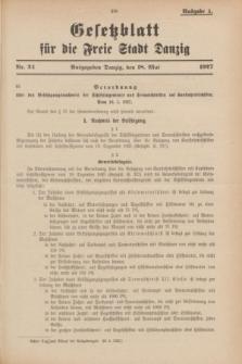 Gesetzblatt für die Freie Stadt Danzig.1927, Nr. 24 (18 Mai) - Ausgabe A