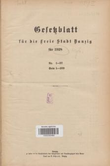 Gesetzblatt für die Freie Stadt Danzig.1928, Spis treści