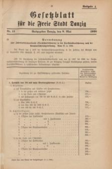 Gesetzblatt für die Freie Stadt Danzig.1928, Nr. 12 (9 Mai) - Ausgabe A