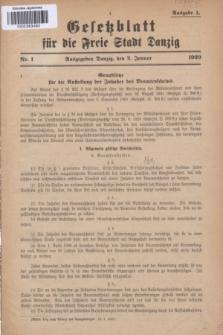 Gesetzblatt für die Freie Stadt Danzig.1929, Nr. 1 (2 Januar) - Ausgabe A
