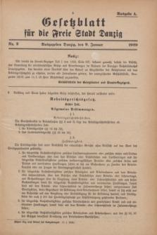 Gesetzblatt für die Freie Stadt Danzig.1929, Nr. 2 (9 Januar) - Ausgabe A